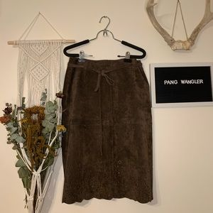 Isaac Mizrahi | Suede Leather Skirt | Brown